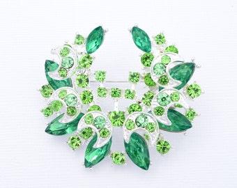 Green Rhinestone Wedding Brooch Rhinestone Bridal Brooch Wedding Accessories Green Brooch