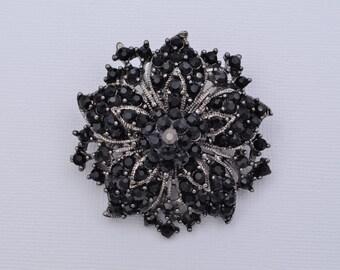 Black Rhinestone Brooch Bridal Wedding Brooch Black Wedding Accessories Black Brooch