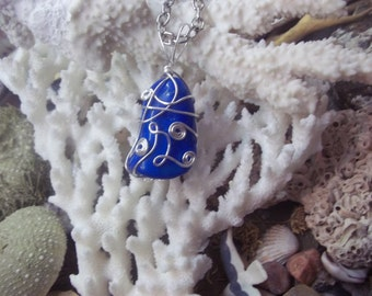 Blue Gemstone Necklace, Lapis Lazuli Necklace, Wire Wrapped Jewelry Handmade OOAK, Dark Blue Stone Pendant, Unique Gift from GoodVibesbyMeg