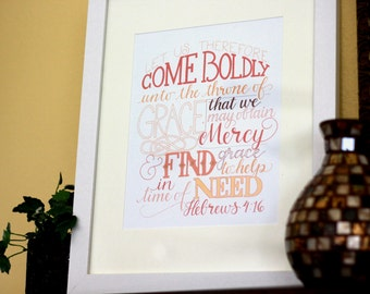 Come Boldly Before the Throne \\ Hebrews 14:6 Bible Verse Typography Art Print