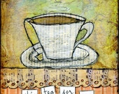 "Whimsical Tea Art, Mixed Media Art, Tea Art, Folk Art, Choose: Card, Magnet, Bookmark, Notebook, Print or Mounted Print, ""Tea for Me"""