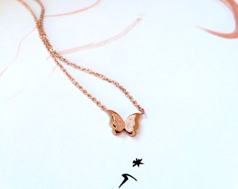 Butterfly Charm Necklace Brushed Finish Double Layer Butterfly Necklace 18K Rose Gold Pendant Necklace Jewelry