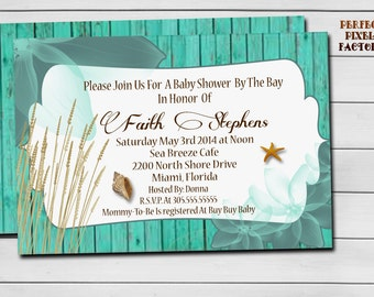 BEACH BABY SHOWER invitation,Beach Side baby shower, Printable Invitation, Made To Order, Perfect Pixel Factory