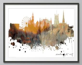 Sheffield Skyline, England Skyline, Urban Silhouette, Architecture, Cityscape, Art Print, Poster, Modern Art, Painting