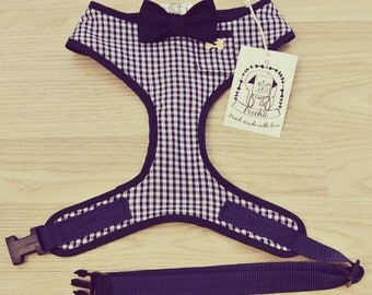 Sir Henry - Hand-made navy gingham harness with navy bow-tie, pocket and bone button – XS, S, M, L & Custom