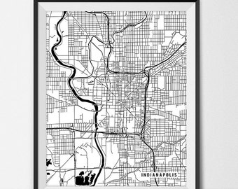 Indianapolis Map Print, Indianapolis Poster of Indiana Map of Indianapolis Print Gift IN Indianapolis Indiana Art University Map Dorm Decor