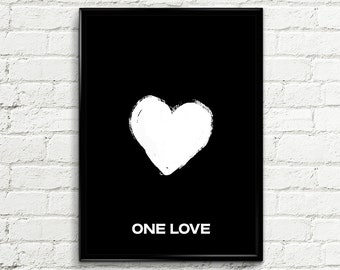 "Inspirational Print Poster 054 ""One love"" - Scandinavian Design Typography Quote Wall Art Printable Home Decor Love Typographic Print"