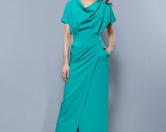 Elegantne oversized dress Long formal dress Evening pencil dress Mint dress