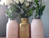 Shabby Chic Vintage Quart Size Gold and Blush Pale Pink Distressed Mason Jars for Bridal Shower, Wedding, Baby Shower, Home Decor