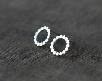 Dotted Circle Earrings, Polka Dot Earrings, Sterling Silver Post, Lightweight Earrings, Dotted Silver Earrings, Minimalist Jewelry
