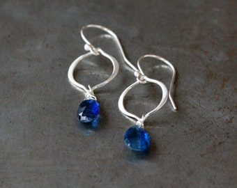 Blue Gem Earrings, Sterling Silver Arabesque Kyanite Earrings, Bridal Earrings, Something Blue, Lightweight Dangle, Faceted Gemstone