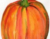 Pumpkin watercolors paintings original, Thanksgiving decor 5 x 7 inches,  kitchen decor, watercolor paintings original Fall decor