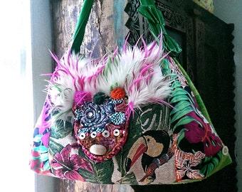 SALE  100 OFF!  Wild Cactus Toucan Bag, Tropical, Beaded, Furry, Large Bag, Colourful, Jungle, Shell, Boho Bag, Bohemian