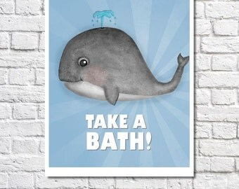 Whale Wall Art Kids Nautical Bathroom Art Cute Animal Art Ocean Bathroom Decor Childrens Bathroom Rules Sign Whale Pictures For Boy Bathroom