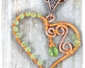 Heart Pendant Peridot Copper Wire Wrapped Jewelry Love Heart Necklace Birthstone Jewelry Spring Green Handmade Wire Wrap Pendant RTS