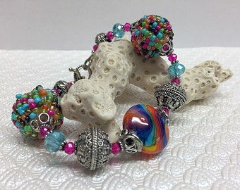 Feelin' Groovy, Lampwork and Beaded Bead Bracelet with Crystal and Bali Silver, Rainbow, Bright