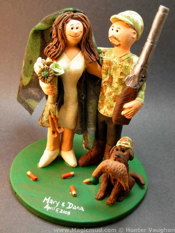 redneck deer fishing hunting wedding cake toppers wedding cake topper camouflage and groom 19131