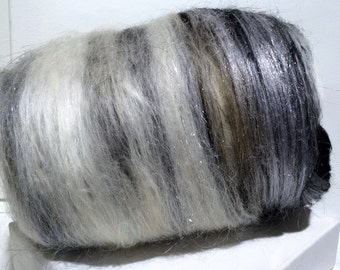 "Fiber art batt, wool batt, roving, spinning fiber,nuno needle felting wool ""Milky Way"", black, white, silver grey, warm grey, brown, Saori"