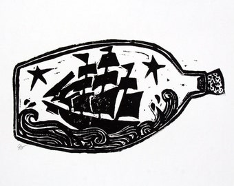 "ship in a bottle - 9""x12"" linoleum block print - wall art"