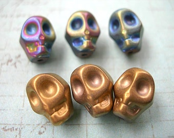 SKULL BEADS Hematite Blue Iris Rainbow and Antique Gold 2 styles 8mm x 10mm lot of 6