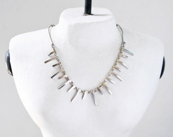 SALE! Vintage Skeletal Collar Necklace - mod silver tone metal flat spikes - artisan jewelry