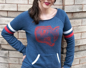Fleece Sweatshirt For Women, Graphic Sweatshirt Printed, Organic Women Shirt, Organic Sweatshirt, Women Organic Top, Fox Shirt, Fox Sweater