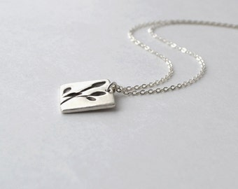 Fine Silver Pendant Necklace, Silver Necklace with Leaf Design, Simple Silver Necklace, Artisan Jewelry, Handmade Buffalo NY