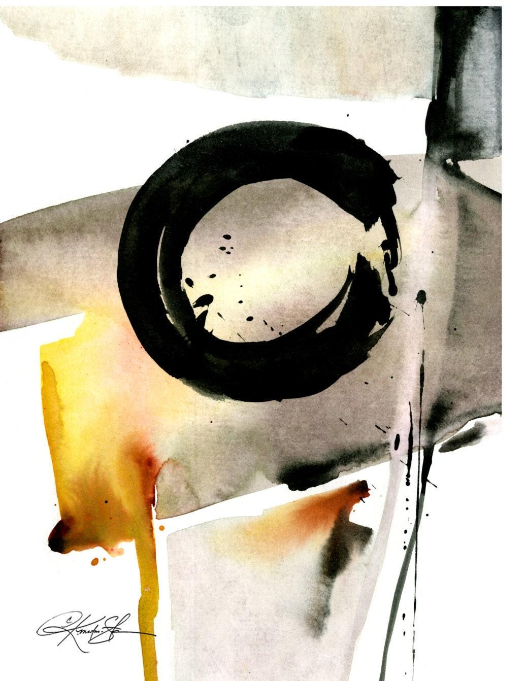 Original Enso Zen Painting Throw Pillows: Enso Zen Circle Watercolor Painting Spiritual Art Archival