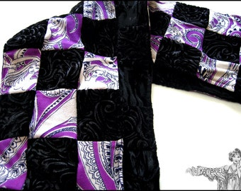 Art Nouveau Mermaids & Embossed Black Velvet Patchwork Scarf - made with 126 pieces of fabric inc. vintage - One of a Kind by Kambriel