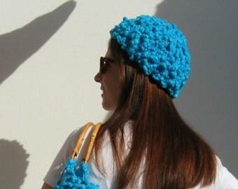SALE - Woman Summer Hat - Beanie Knit in Cyan Cotton