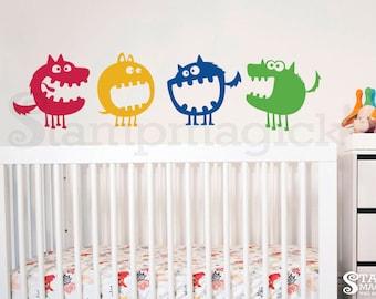 Monsters Wall Decal - Monsters Decal - Monsters Wall Decal Art Nursery - Removable Vinyl Wall Sticker Children graphics - Wall Mural - K171