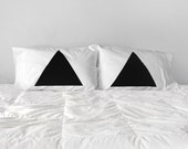 Gift for Couples, Pyramid Pillowcase Set of 2 : modern minimal home decor, geometric pillow case set, couples gift, triangle pillows