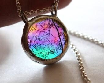 Boho Jewelry Real Plant Necklace, Skeleton Leaf Necklace, Botanical Eco Statement Necklace, Real Leaf, Rainbow Festival Glass Pendant