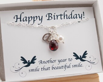 January Birthday Gift with Happy Birthday Card, January Birthstone Necklace, Garnet Necklace, Gemstone Jewelry, Sterling Silver Initial
