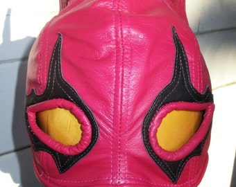 Pink Fuschia Leather Half Mask with Kitty Ears/ Black Eye Detail PRICE LOWERED!