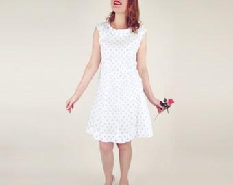 60s Light Blue Polka Dot White Sleeveless Mod Dress L XL