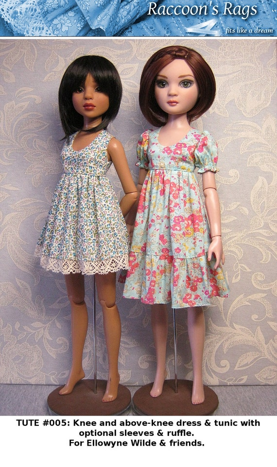 """PDF Full tutorial with pattern TUTE#005: (Tutorial version of SSP-017) Tunic & dress for 16"""" Ellowyne Wilde and friends, Luts Kid Delf."""
