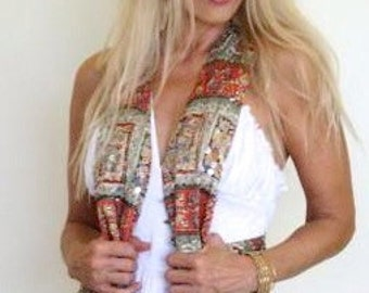 Vintage 80s Boho Bohemian Festival Hippie Floral Tapestry Print Beaded Sequin India Vest Top