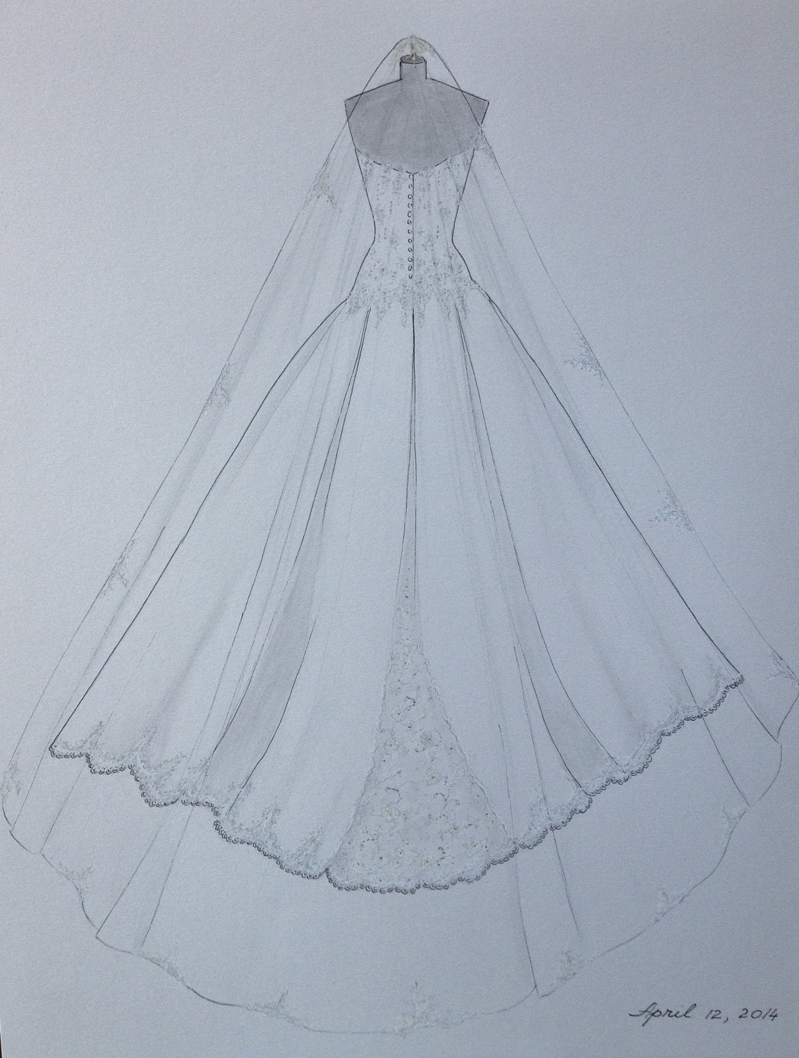 Custom wedding dress sketch back wedding dress hand drawing for How to draw a wedding dress
