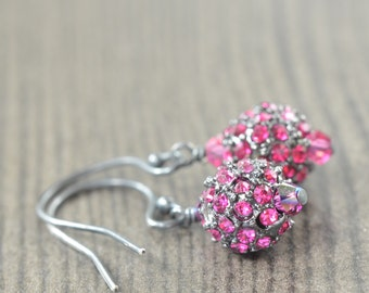 Ruby earrings Pink Pave crystal earrings Pink earrings Fuchsia earrings pave earrings