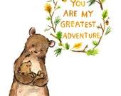 Nursery Art -- My Greatest Adventure BEAR -- Art Print