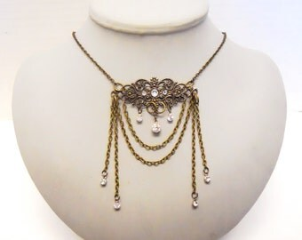 Filigree necklace Antiqued Brass walk in the moonlight  with crystals perfect for a steampunk bride or wedding secret noir ball or mascarade