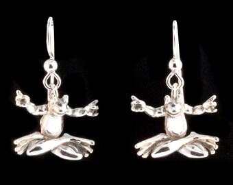 Frog Earrings - Silver Zen Frog Earrings - Zen Jewelry Yoga Frogs - Frog Jewelry Silver Frog Jewelry