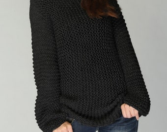 Hand knit woman sweater - Eco cotton long sweater in black