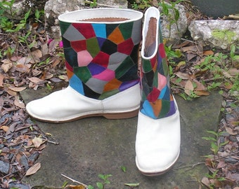 Vintage Patchwork Leather Boots - Handmade Boots - Rainbow Colors - Eighties - Angels