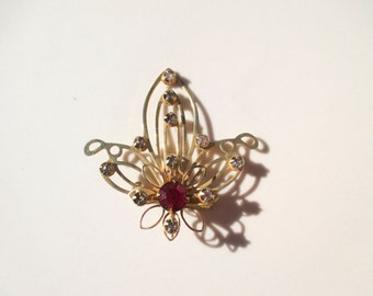 fleur de lis Rhinestone Smoky Diamond & Ruby Flower Brooch Pin Vintage