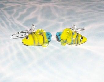 TROPICAL FISH Dangle Earrings - Fun Whimsical Pet Jewlery for Fish Lovers