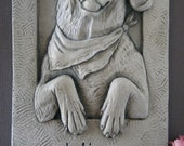 Happy dog wall sculpture plaque bas relief casting. Indoor/outdoor & made in USA -  dog lover's gift