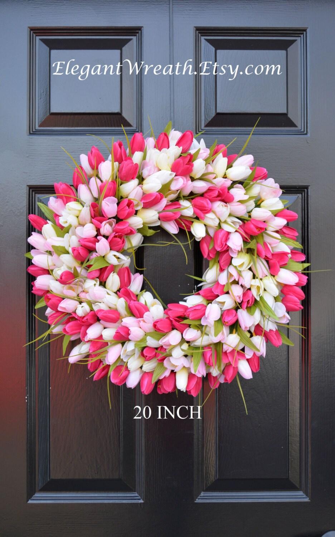 Spring wreath tulip spring wreath summer wreath custom front spring wreath tulip spring wreath summer wreath custom front door wreath spring decor easter decoration outdoor wreath rubansaba