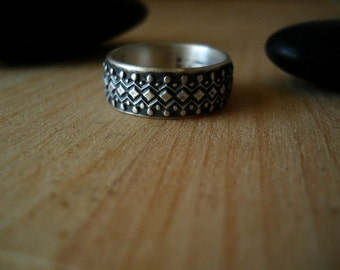 oxidized sterling band ring, sterling silver, size 6.5, wide band, artisan ring, READY TO SHIP